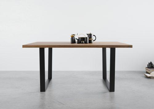 Stół dębowy rozkładany, stół z dostawkami, stół na czarnej ramie, stół z dębowym blatem, stół na czarnych nogach , stół 200/100, stół 140x90