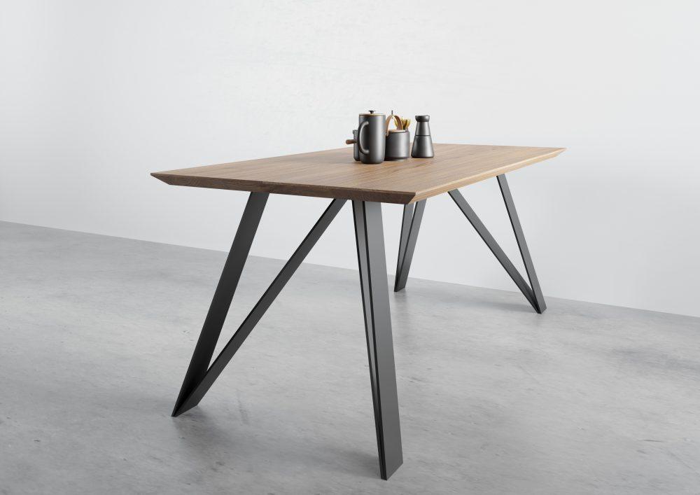 Stół dębowy St10, stół nowoczesny, stół na czarnych nogach, stół dębowy rozkładany, stół rozkładany industrialny, stół do nowoczenego salonu, stół rozkładany z litego drewna