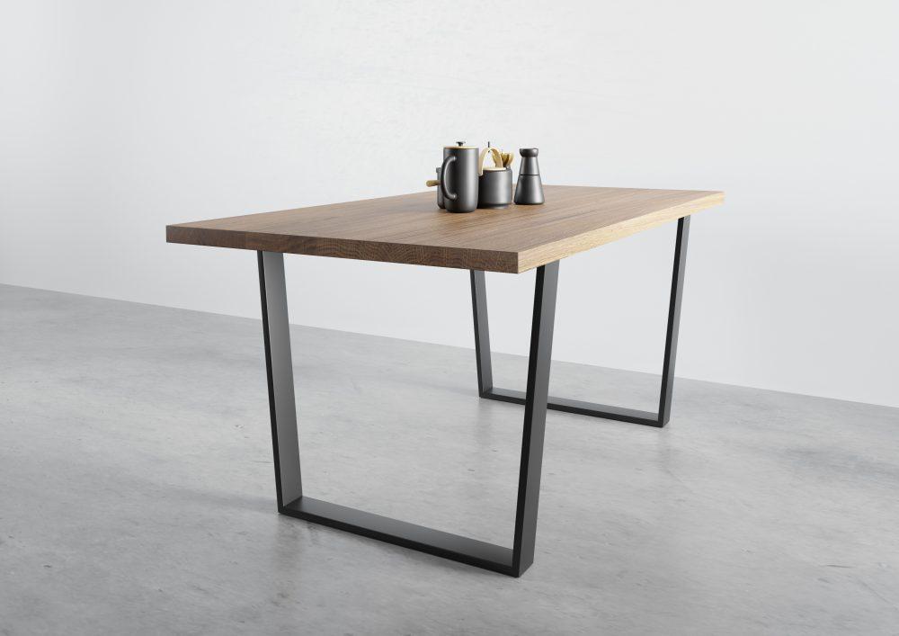 Stół na trapezowej czarnej ramie, stół do jadalni, stół rozkładany, stół z dostawkami, stół dębowy rozkładany, stół debowy na płozach, stół na czarnych nogach, loftowy stół rozkładany