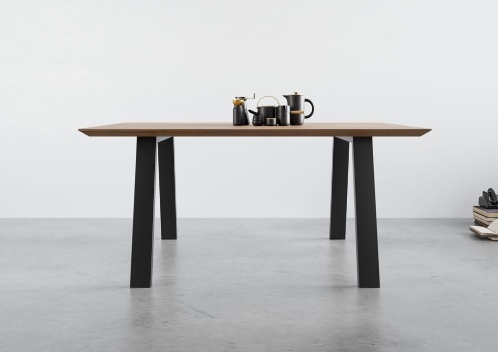stół rozkładany, stół z dostawkami bocznymi, stół na czarnych stalowych nogach