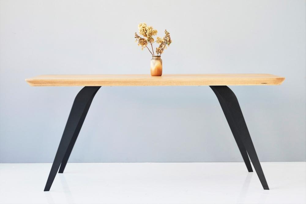 nowoczesny stół, dębowy stół , stół 180x90, stoł 200x100, stół z zakrąglonymi rogami,stół rystykalny z grubym dębowym blatem