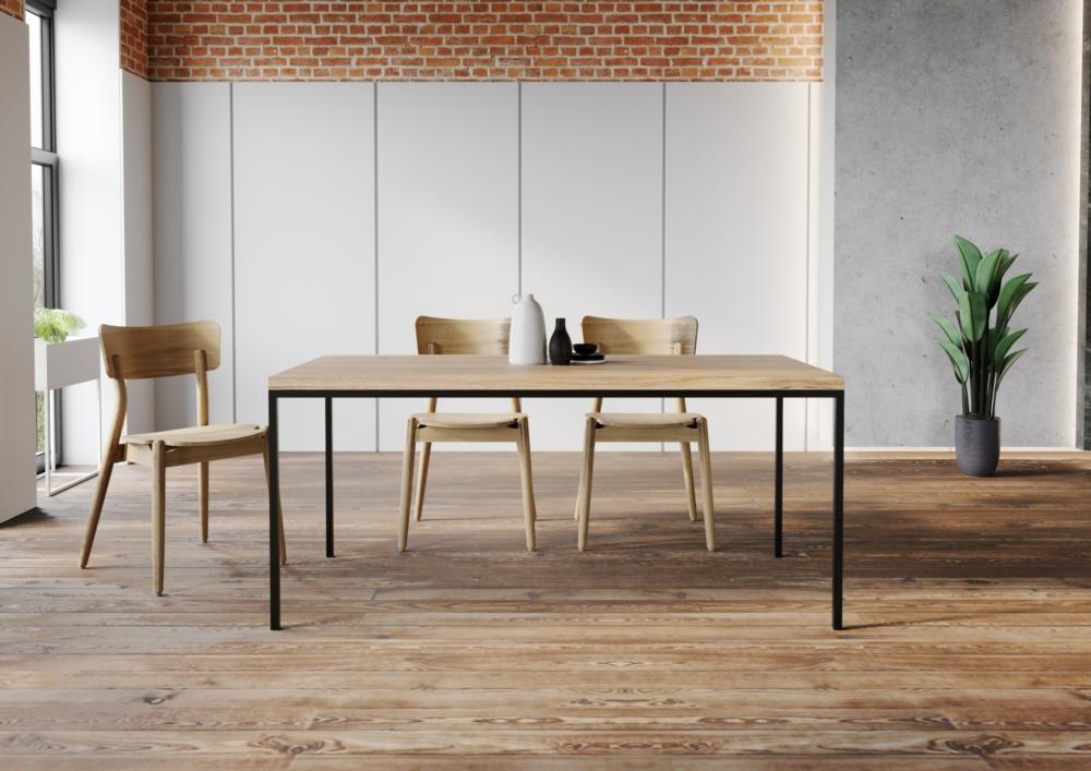 ST 14, stół dębowy do jadalni, producent stołów, prosty stół do jadalny, funkcjonalny stół do jadalni, stół do jadalni, prosta krawędź, rozkładany, stół na lekkich czarnych nogach, krzesła fameg malibu aranżacja