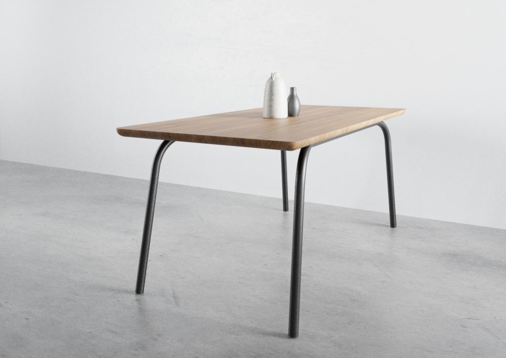 ST13 OVO, nowoczesny stół, zaokrąglona krawędź, stół dębowy, stół do jadalni, stół rozkładany, stół 160 cm 140 cm, praktyczny stół, stół prostokątny, dębowy stół, stół na 4 nogach, producent stołów