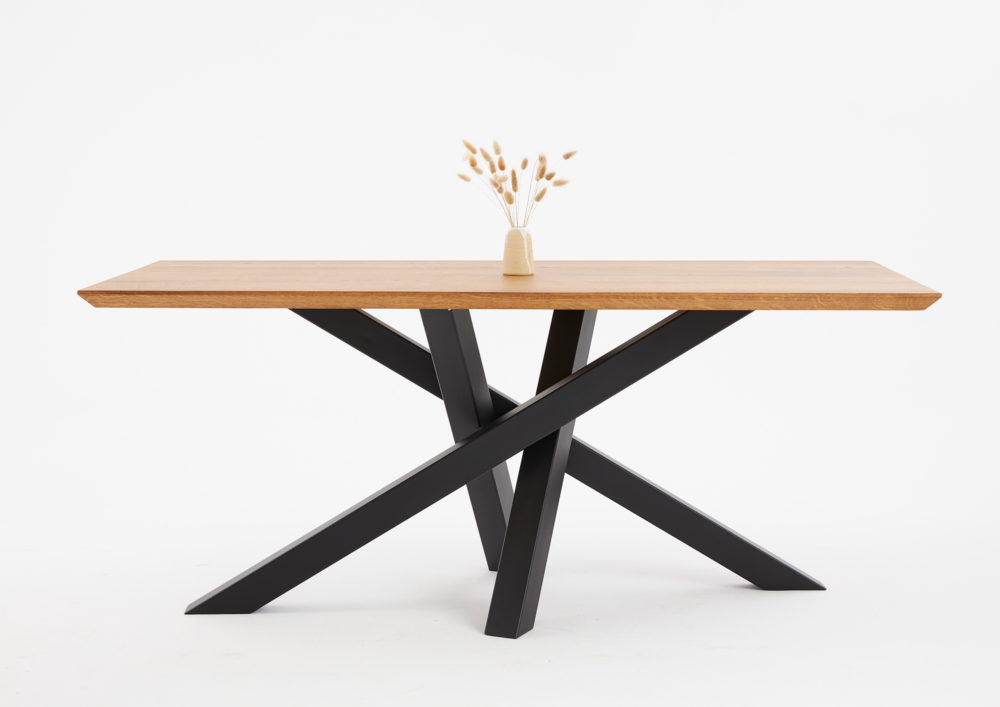 Stół industrialny, stół rozkładany loft, stół dębowy rozkładany z czarnymi nogami, Stół 160x90, stół 180x90 rozkładany, stół 200x90 cm